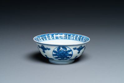 A Chinese blue and white 'dragon' bowl with lanca-characters, Wanli mark and of the period