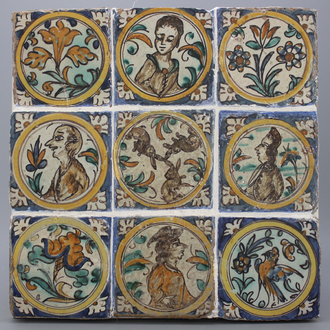A group of 9 Spanish tiles, Seville (Triana), ca. 1700