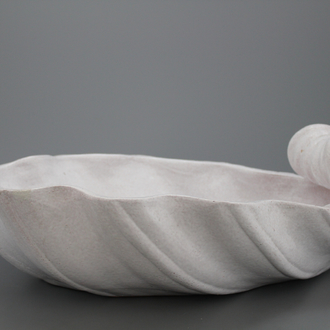 A white glazed champagne cooler shaped as a shell, France, 19th C.
