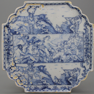 A fine blue and white Delft presentoir with mythological scenes 18th C.