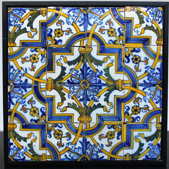 A field of 16 Portuguese tiles 17th C.