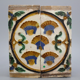 A pair of Seville ceiling tiles with scallop shells, 16th C.