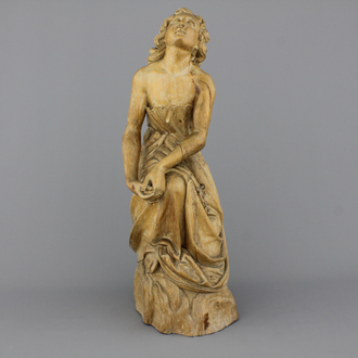 A large carved wood figure of a kneeling lady, ca. 1800