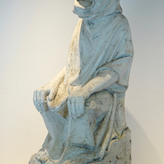 A neo-gothic style plaster cast of a seated figure, 19/20th C., Bruges