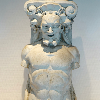 A plaster cast of an atlas or telamon, 19/20th C., Bruges