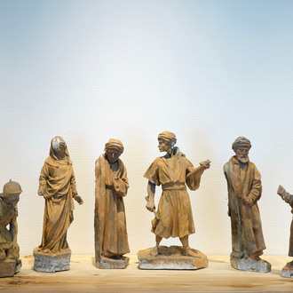 A set of six plaster figures from the retable of Caux, 19/20th C., Bruges