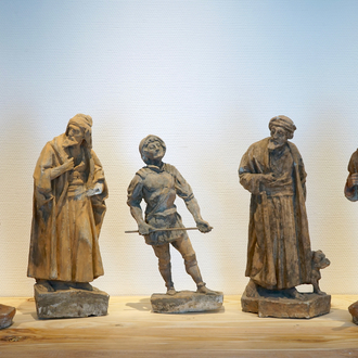 A set of five plaster figures from the retable of Caux, 19/20th C., Bruges