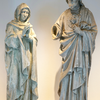 Two 120 cm plaster casts of religious figures, 19/20th C., Bruges