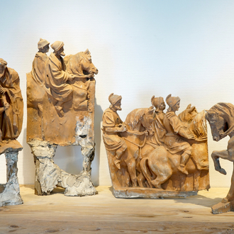 A set of four plaster equestrian figures from the retable of Caux, 19/20th C., Bruges