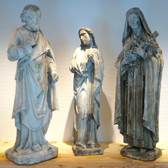 A set of three large plaster casts of holy figures, 19/20th C., Bruges