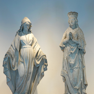 A set of two 116 cm plaster casts of female religious figures, 19/20th C., Bruges