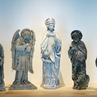A set of five plaster casts of religious figures, 19/20th C., Bruges