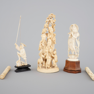A carved Chinese ivory group of 3 Immortals, a fisherman and two needle cases, with an Indian carved ivory goddess, 19th C.