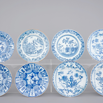 A set of 8 Chinese blue and white porcelain plates, 18th C