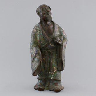 A Chinese bronze and cloisonne figure of an immortal, 18/19th C.