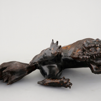 A large Japanese bronze model of a shishi, 18th C.