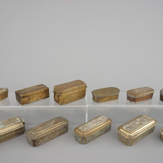 A collection of engraved and inlaid betel boxes, Indonesia, Malaysia and/or Sumatra, 19/20th C.