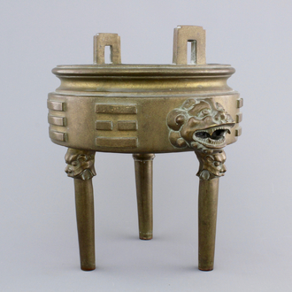 A Chinese bronze tripod incense burner with trigrams, 18/19th C.