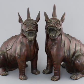 """A tall pair of Chinese bronze """"Luduan"""" figures, 18/19th C."""