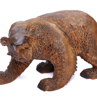 A very large carved wood bear, Japan, 20th C.
