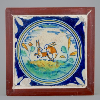 A medallion tile with mating rabbits, ca. 1600, Southern Netherlands