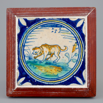 A medallion tile with a dog, ca. 1600, Southern Netherlands