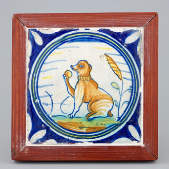 A medallion tile with a monkey holding a ball, ca. 1600, Southern Netherlands