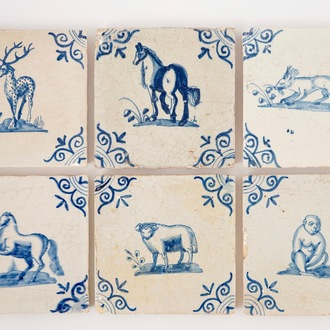 A set of six blue and white Dutch Delft tiles with animals, 17th C.