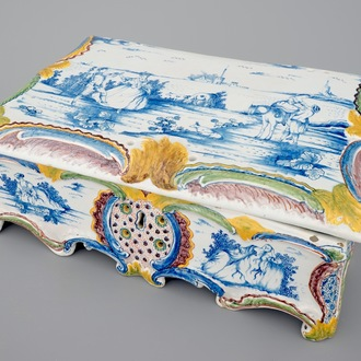A rare polychrome Dutch Delft jewellery box with cover, 18th C.