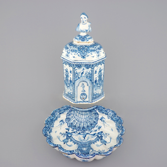 A Dutch Delft blue and white wall cistern with basin, 18th C.