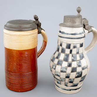 A stoneware jug and a Köln pewter-mounted jug, 18th c.