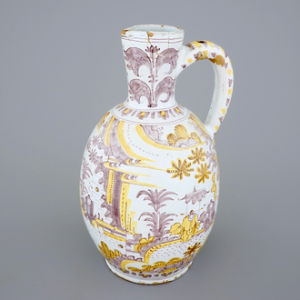 A large yellow and manganese chinoiserie jug, Frankfurt or Delft, 17th C.