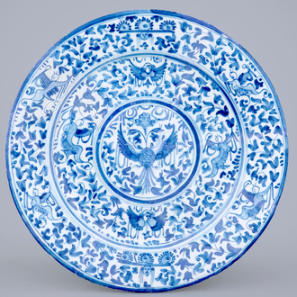A blue and white dish with double eagles, Delft or Haarlem, 17th C.