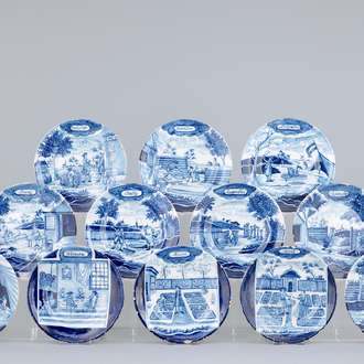 A set of 12 blue and white Dutch Delft month plates, 19th C.