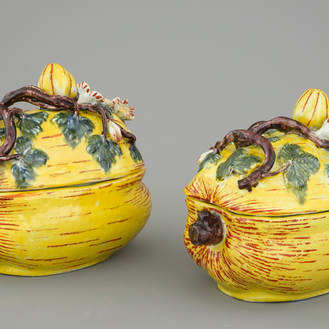 A pair of polychrome Dutch Delft pumpkin tureens and cover, 18th C.