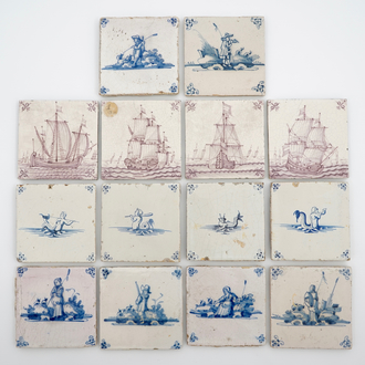 A set of 14 antique blue, white and manganese Delft tiles, 17/19th C.
