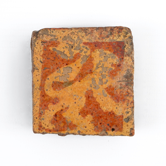 A medieval tile with a lion, probably Flemish, 14th C.