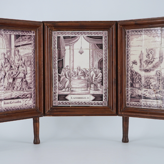 A tryptich of Dutch Delft tile murals with religious scenes, Utrecht, 19th C.