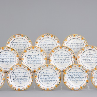A set of 12 polychrome Dutch Delft plates with a marriage poem, dated 1831