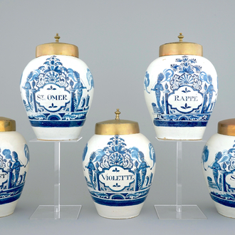 A set of five Dutch Delft tobacco jars with brass lids, 18th C.