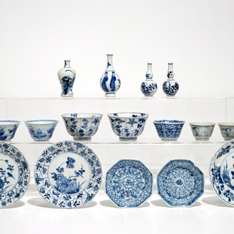 A group of Chinese blue and white wares, mostly Kangxi