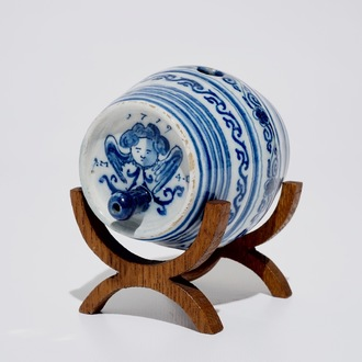A dated Dutch Delft blue and white barrel-shaped gin flask, 1719
