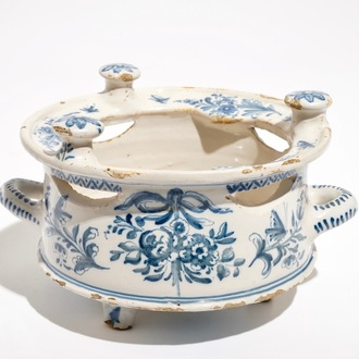A blue and white Dutch Delft style Frisian warmer or chafing dish, dated 1783