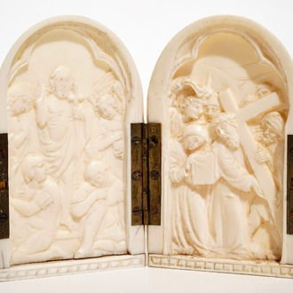 A small religious subject ivory diptych, prob. Dieppe, France, 19/20th C.