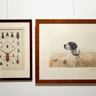 Léon Danchin (France, 1887-1939), lithography on paper, numb. 219/500, and another with beetles