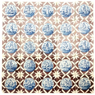 A field of 25 Dutch Delft tiles with figural designs in blue and manganese, 18th C.