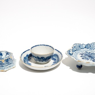 A Dutch Delft blue and white salt, a chocolate cup and a spice dish, 18th C.