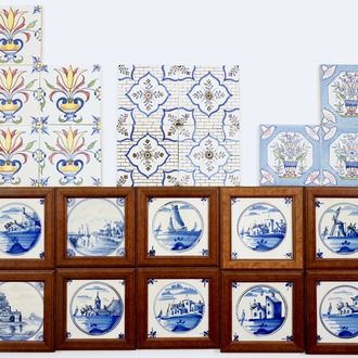 A set of 22 various polychrome and blue and white Dutch Delft tiles, 19th C.
