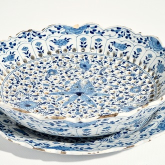 A Dutch Delft blue and white strawberry strainer on stand with pseudo-Chinese mark, 18th C.