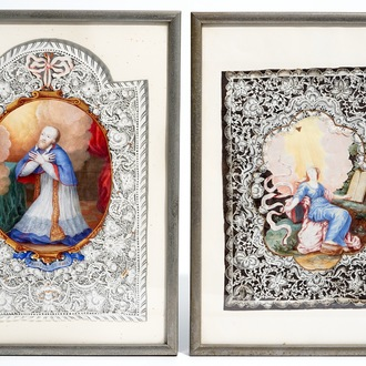 Two devotional pin prick canivet images of saints, 18/19th C.